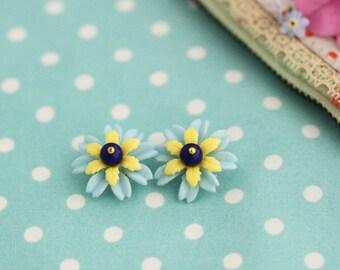Earrings Blossom vintage flower Yellow Blue