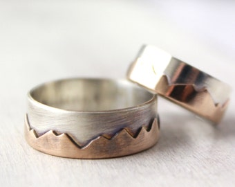 Bronze and Silver Mountain Range Ring