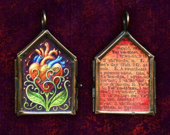 Heart Flower Valentine Locket:  Hand painted miniature original painting, rustic glass & copper Anatomical heart love gift, Oddity curiosity