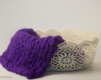 Purple Knit Bump Blanket, Photo Prop Knitted Baby Layer Blanket, Prop Blanket, Basket Filler Blanket, Photography Props