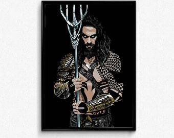 Aquaman Justice Leauge Jason Momoa Art Prints Poster