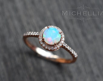 Petite Halo Diamond Ring in Opal, Ethiopian Fire Opal Halo Engagement Ring, Available in 14K Gold, 18K Gold, or Platinum, R4001