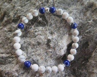 Magnesite bracelet with Lapislazuli and 925 Silver Jewellery -Unique-
