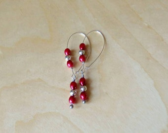 Earrings, Red, Silver, Christmas, Holiday, Jewellry, Dangle, Drop, Hoop