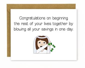 Funny Wedding Card / Wedding Gift / Wedding Congratulations / Money Card / Make it Rain