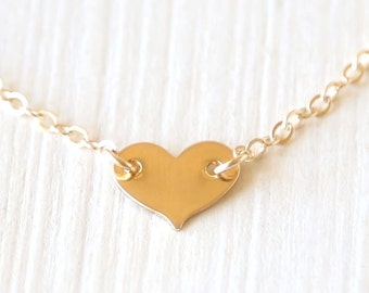 Mini Thin 14K Gold Filled Layering Heart Necklace // everyday dainty bridesmaid jewelry