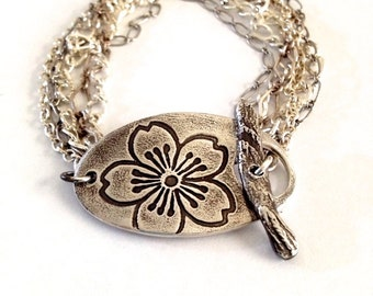 Artisan Rustic Sakura Silver Bracelet with a Bevy of Chains -  Toggle Bracelet - Sterling Silver