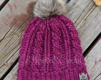 Adult or Teen Cable Stitch Hat, Cabled Crochet Hat, Fur Pom Pom Hat, Adult or Teen Winter Hat