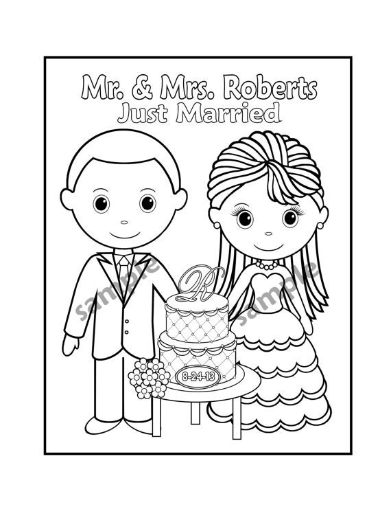 Printable personalized wedding coloring activity book favor for Wedding coloring pages to print