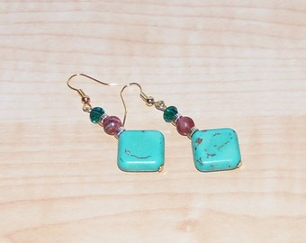 Turquoise/Brown Earrings, Women's Turquoise Earrings, Turquoise Drop Earrings
