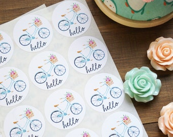 Shop Exclusive - HELLO stickers - Pastel spring beach bike with flower basket stickers - hello bicycle stickers, penpal letter stickers