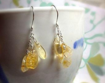 HALF PRICE - Fruits of Your Labor - citrine earrings / lemon drop earrings / yellow earrings / dangle earrings /  November birthstone