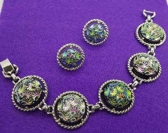 Sarah Coventry Northern Lights Bracelet  and Clip earrings 1973 Colorful