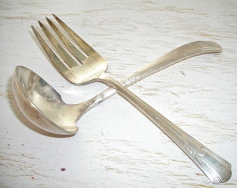 silver gravy ladle and meat fork - silver plate serving utensils - shabby cottage chic - hollywood regency