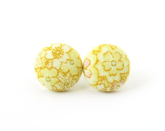 Yellow stud earrings - bright button earrings - tiny fabric earrings - flower studs - summer jewelry- gift under 10 - floral print - for her
