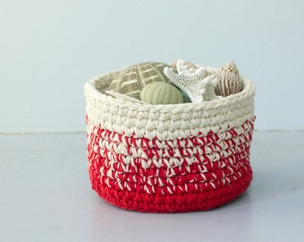 Cotton Storage Basket, Crochet Basket, Entryway Organizer,  Easter Basket, Housewarming Gift, Hostess Gift, Nursery, Bathroom