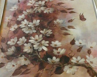 Original signed Renee acrylic floral painting