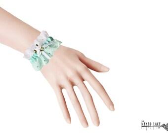 W6 Sweet Lolita Mint and White Rose Wrist Cuffs