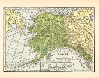 Vintage Map of Alaska Fabric - Fat Quarter, sewing, quilting, supplies, crafting, maps, yardage
