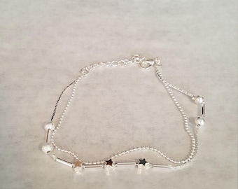 Silver tone adjustable ankle bracelet