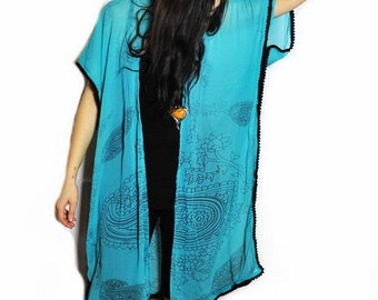 Kimono: Turquoise Light Weight Wrap, Shawl, Bathing Suite and Beach Cover Up