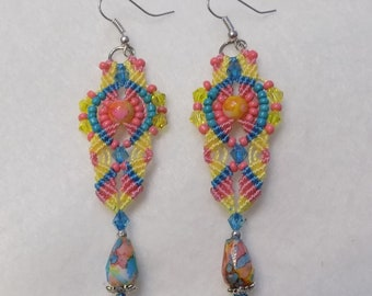 Aqua Yellow and Corral Macrame Earrings Micro Macrame