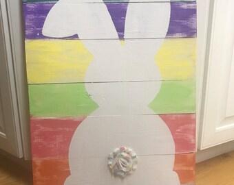 Distressed rainbow bunny