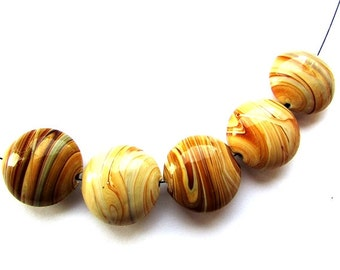 Lentil Coin Caramel Brown Glass Beads Lampwork 18 mm beads Jewelry making Supplies 4 pcs.