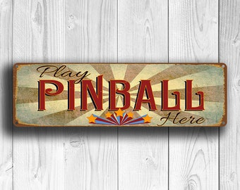 PINBALL SIGN, Play Pinball Here Sign, Pinball Signs, Pinball Art, Old Style Pinball Signs, Games Room Signs, Pinball Decor, Pinball Wall Art