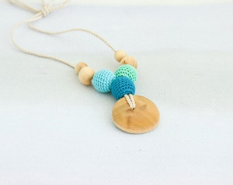 Petite Trio Nursing Necklace - Teal&Mint, Juniper - Teething Necklace, New Mom Necklace, New Baby Gift - NT04