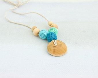 Petite Trio Nursing Necklace - Teal&Mint, Juniper - Teething Necklace, New Mom Necklace, New Baby Gift - NT04
