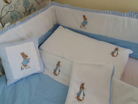 Custom Made Peter Rabbit Cot Cot Bed Set Bumper Quilt