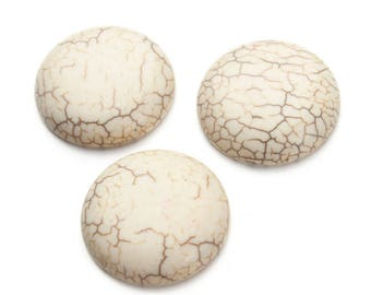 Crackle 30 mm white turquoise semi precious stone cabochon