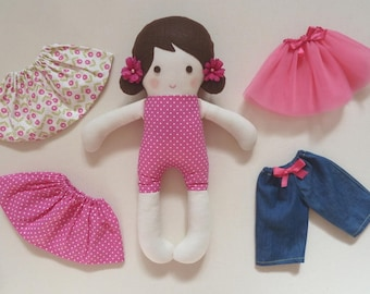 """Fabric Stuffed Doll Deep Pink with White Polka Dots Changeable Skirts, Tutu, and Jeans 14.5"""" (37cm) Tall"""