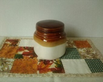 Vintage Brown and Oatmeal Crock style jar with original lid.