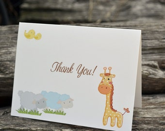 Baby Thank You Notes / Animal Stationary / Personalized Note Cards / Stationery Set of Animal Thank You Notes