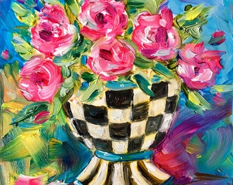 """Original oil painting, colorful spring vase of flowers in a 4"""" square format"""