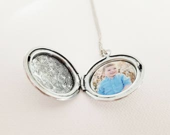 Silver Locket Necklace - Silver Photo Locket - Memory Locket - Locket with Photo - Rose Gold Locket - Rose Gold Photo Locket - Gift Locket