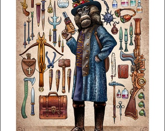 "Gabriel Warwick Thorncastle 11"" x 14"" Art Print- Steampunk Monkey Nation Portrait- Whimsical Monkey Wall Decor"