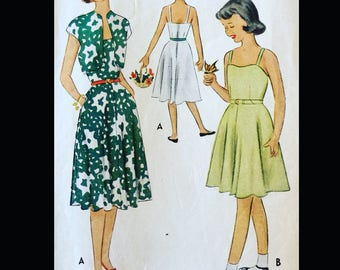 Vintage 40s Spaghetti Strap Sundress Cropped Bolero Sundress Sun Dress Girls Sewing Pattern 8356 Size 7