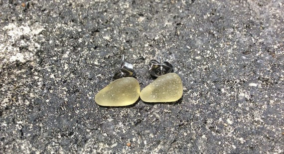 RARE Yellow, Surf Tumbled Sea Glass Stud Earrings