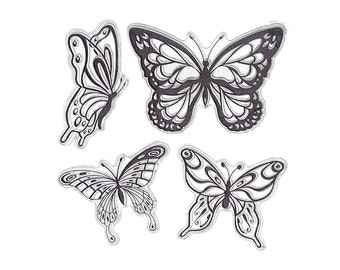 DECORA 1PCS 4 Butterfly Transparent Clear Stamp DIY Silicone Seals Scrapbooking/Card Making/Photo Album Decoration Supplies