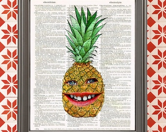 Pineapple with a Funny Smile Face, Pineapple Fruit art home decor, kitchen decor, gift for her, tropical decor, weird stuff, funny art print
