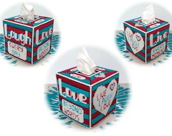 LIVE LAUGH LOVE Plastic Canvas Tissue Box Cover (Pdf Pattern, instant digital download)