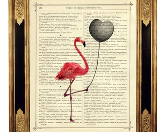 Pink Flamingo Dictionary Art Print black Heart Balloon Valentine's Day Poster - Vintage Victorian Book Page Art Print Steampunk