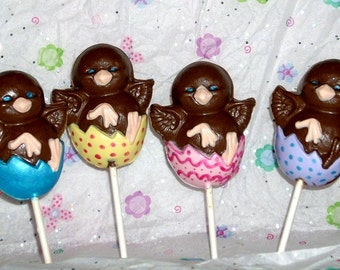 Easter Chocolate Chick Lollipops