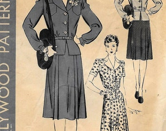 Hollywood Vintage 1940s 2-Piece DRESS Jacket And Skirt Sewing Pattern Size 14 Bust 32