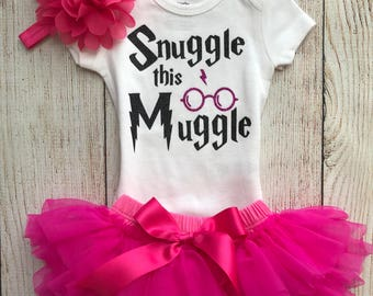 Snuggle This Muggle - Harry Potter Baby Girl Coming Home Outfit in Hot Pink and Black - Baby Girl Harry Potter Outfit - Harry Potter Muggle