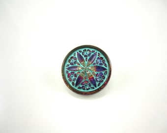 Volcano Turquoise Star Flower Czech Buttons Blue Star Czech Glass Handmade Buttons Volcano Buttons 18mm (1 pc) 63BV3