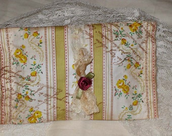 Vintage French Floral Postcard Sachet Handmade and Hand Stamped Filled with Provance Lavender Ooh La La